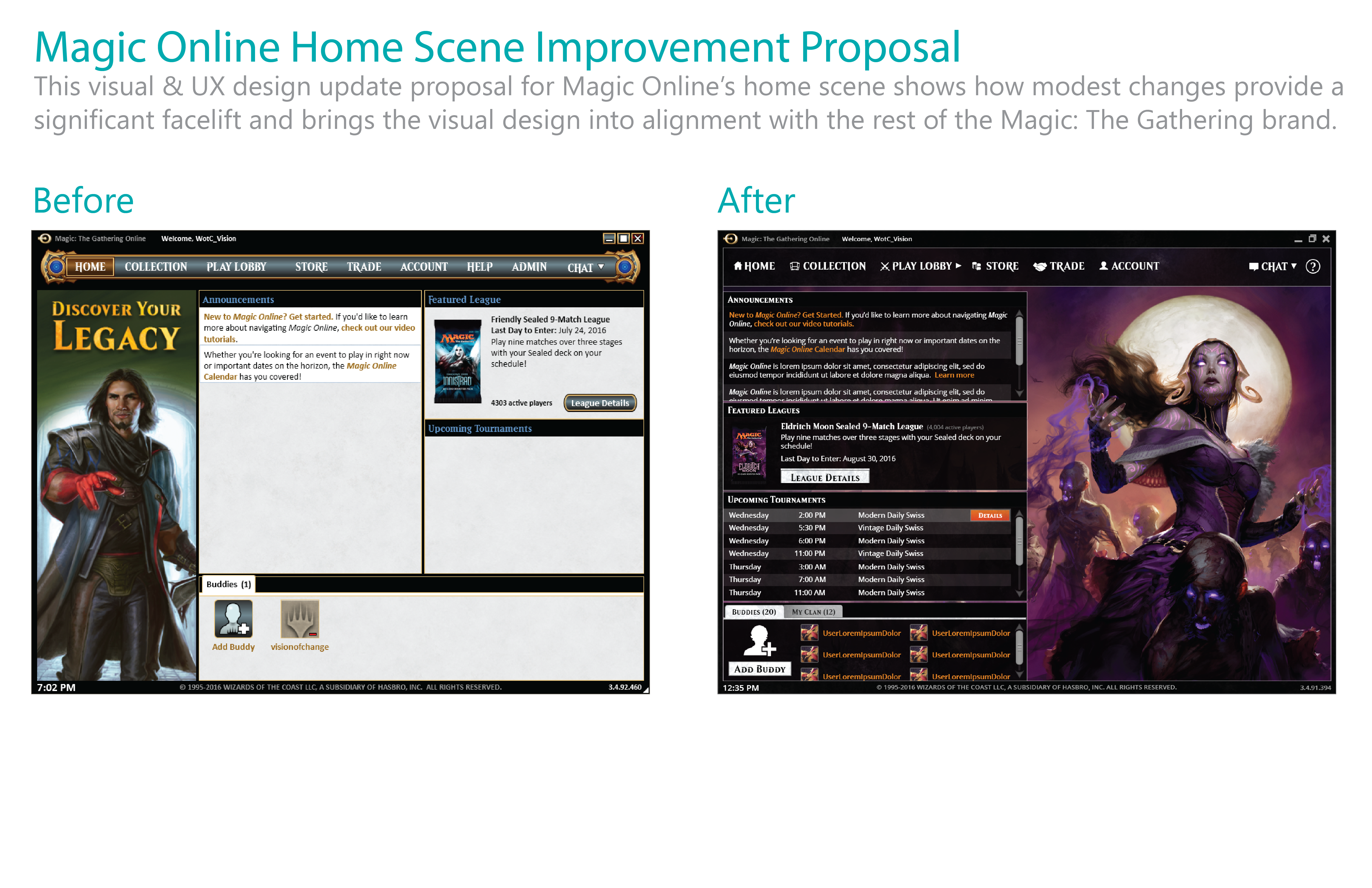 Magic Online Home Scene Improvement Proposal
