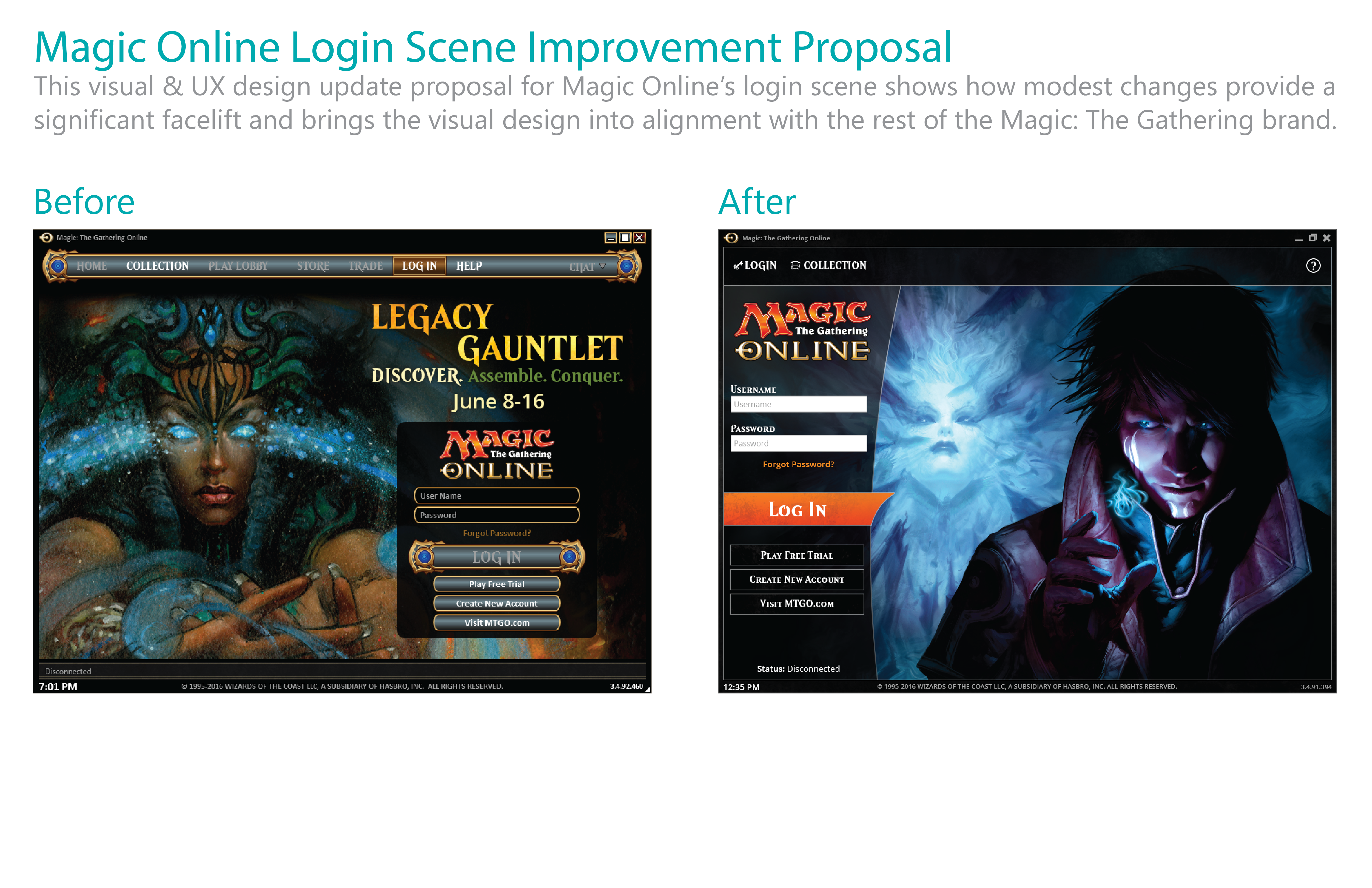 Magic Online Login Scene Improvement Proposal
